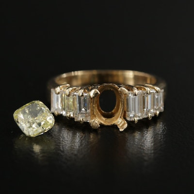 18K Yellow Gold 1.97 CTW Diamond Semi-Mount Ring