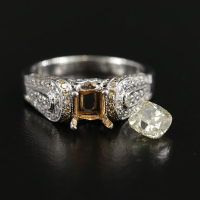 14K White Gold Diamond Semi-Mount Ring with 1.21 CT Loose Diamond