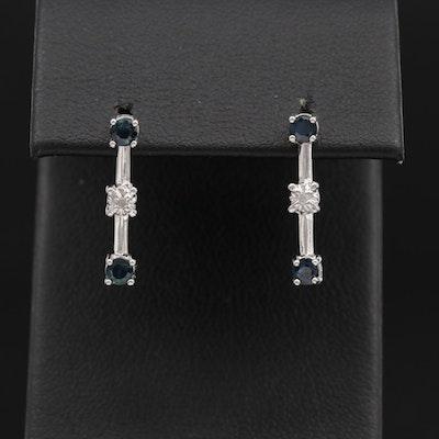 10K Gold Sapphire and Diamond Earrings