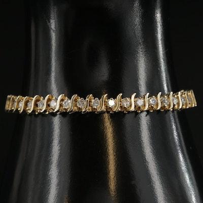 14K Yellow Gold 3.36 CTW Diamond Link Bracelet