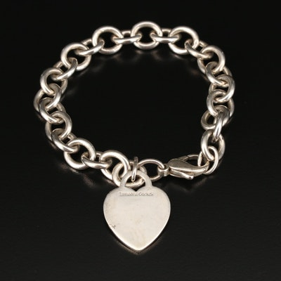 Tiffany & Co. Sterling Link Bracelet with Heart Charm