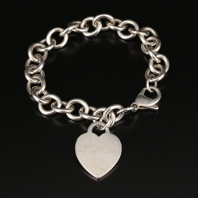 Tiffany & Co. Sterling Silver Link Bracelet With Heart Charm