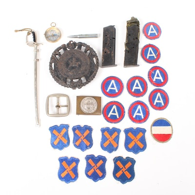 Military Paraphernalia Including Patches, Clips, Buckles and More