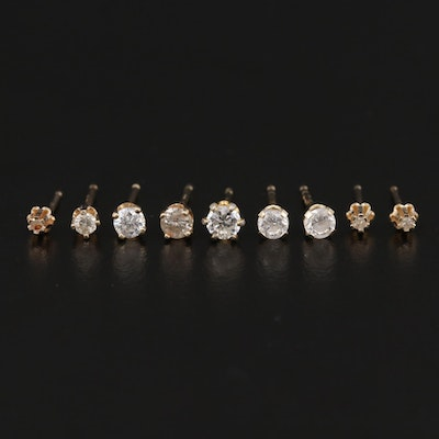 Collection of 14K Yellow Gold Diamond and Cubic Zirconia Stud Earrings