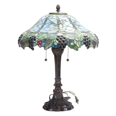 Tiffany Style Slag Glass Grape Motif Table Lamp