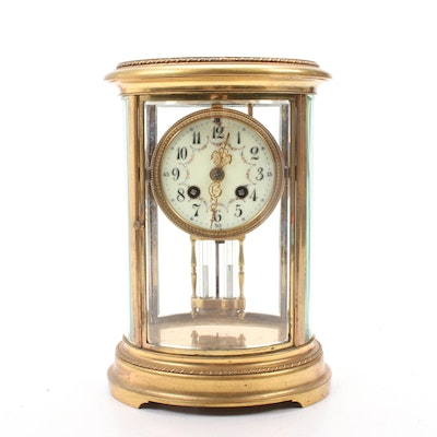 Samuel Marti et Cie Brass Four Glass Mantel Clock, Late 19th Century