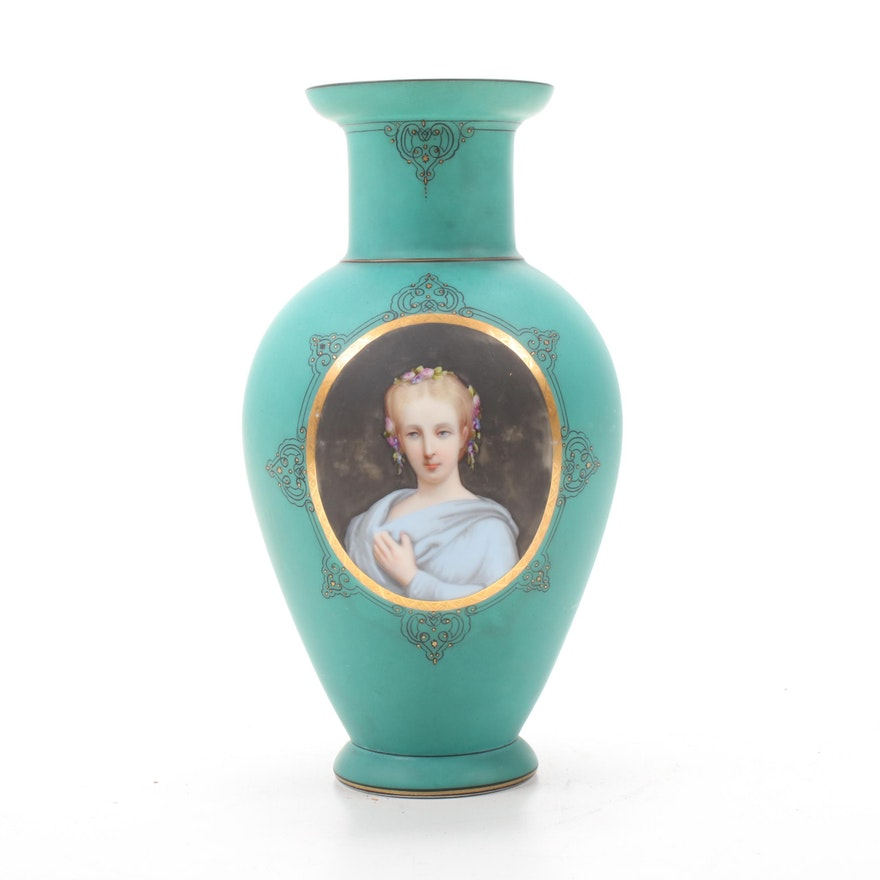 Hand-Painted Porcelain Portrait Vase, Late 19th/Early 20th Century