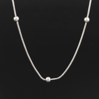 Sterling Silver Snake Chain Station Necklace