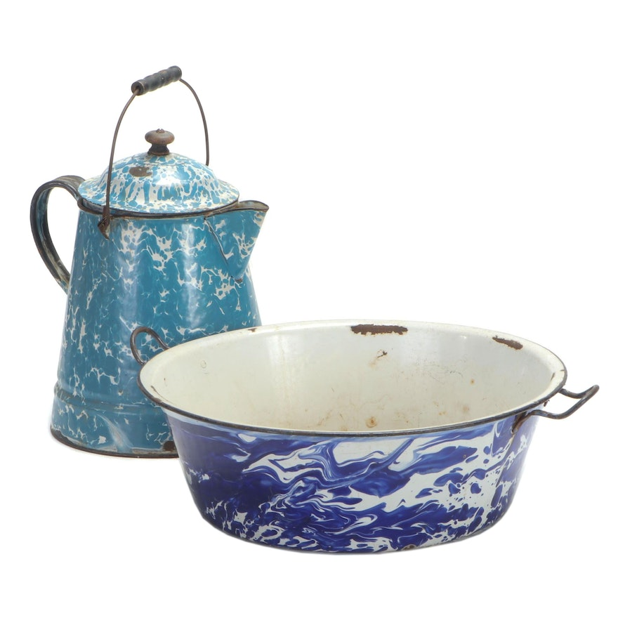 "American Country Blue and White ""Graniteware"" Coffee Pot and Cooking Pot"