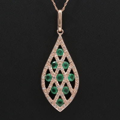 14K Gold Emerald and Diamond Pendant Necklace