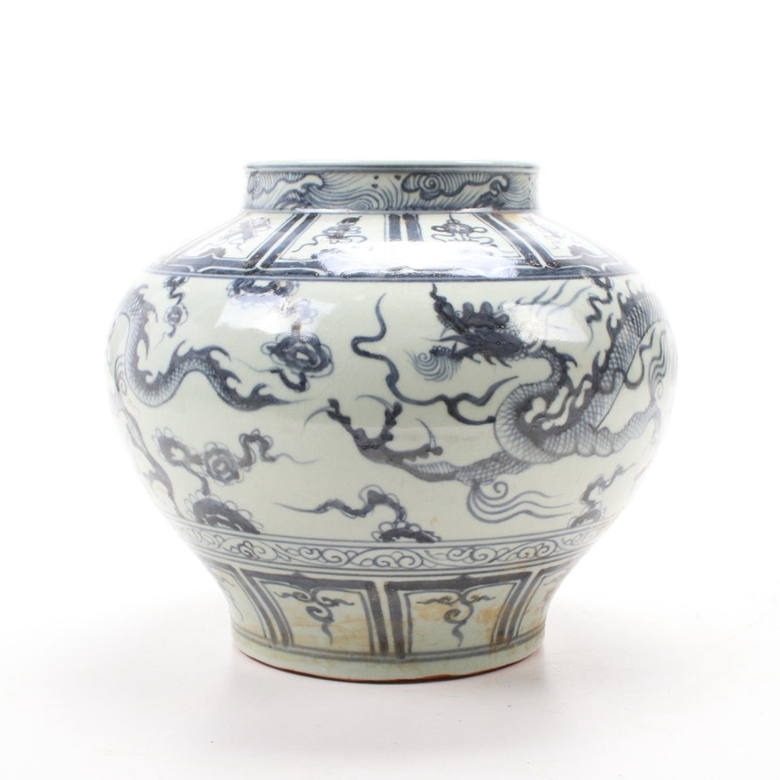 Chinese Hand-Painted Earthenware Planter with Dragon Motif