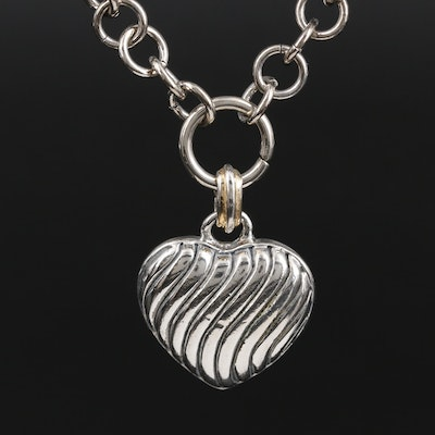 Heart Pendant on Fancy Figaro Chain Necklace