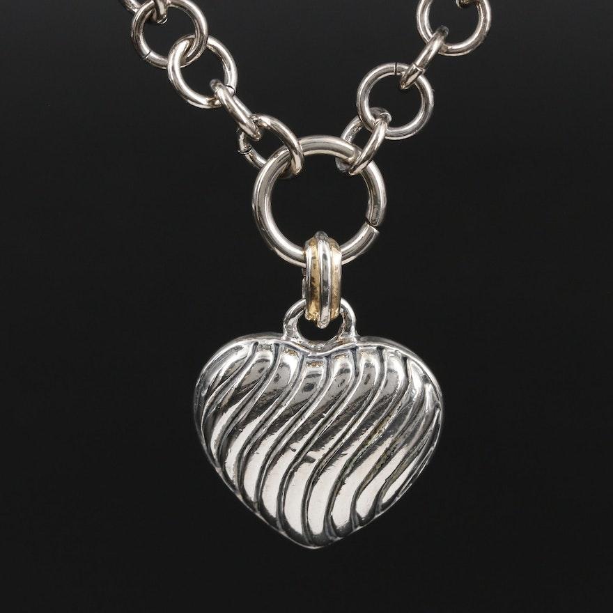 Heart Pendant on Fancy Figaro Chain Necklace