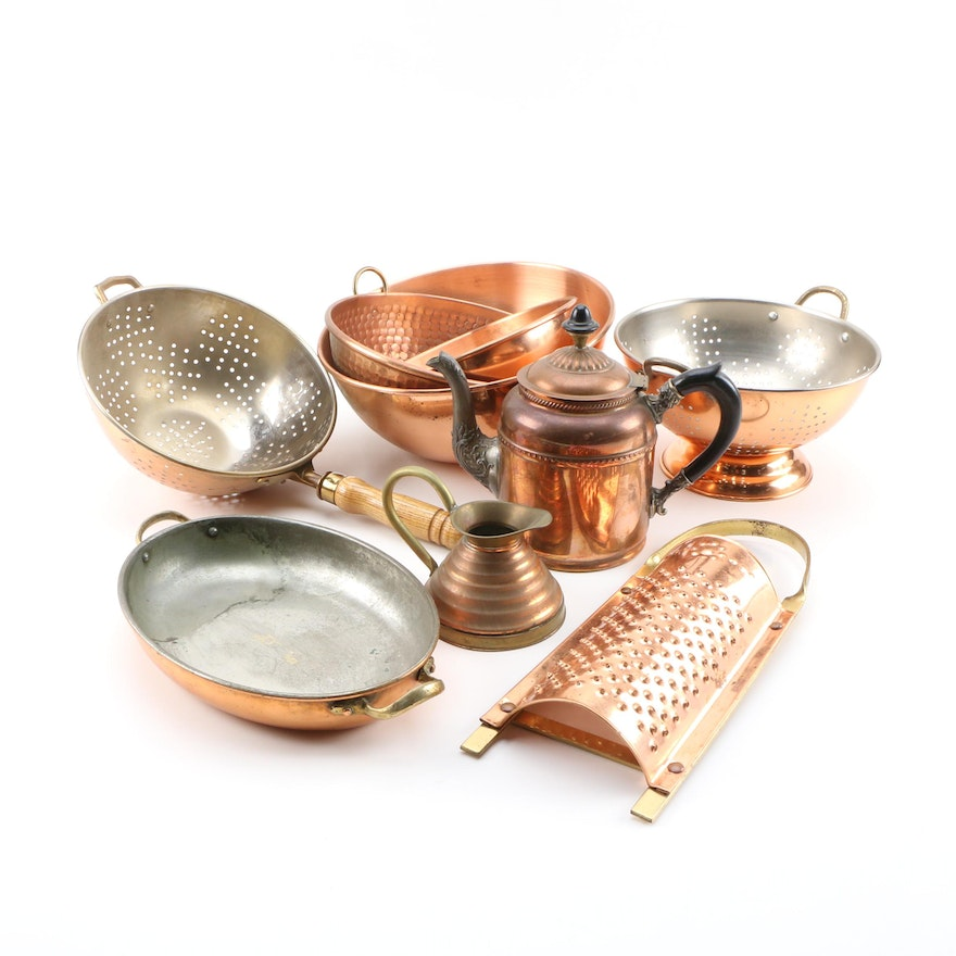 Copper Mixing Bowls, Colanders, Teapot, and Other Kitchen Utensils