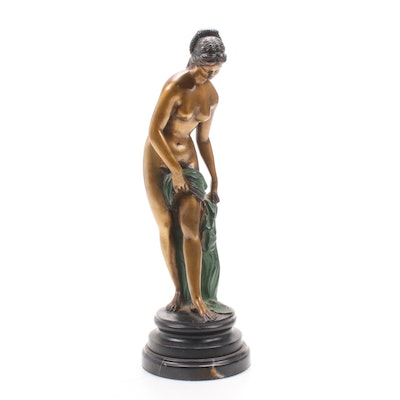 Art Nouveau Patinated Bronze Female Nude Sculpture, Early 20th Century