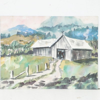 Kathleen Zimbicki Pastoral Watercolor Painting of Barn