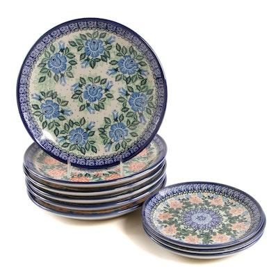 Polish Ceramika Artystyczna Stoneware Dinner and Salad Plates