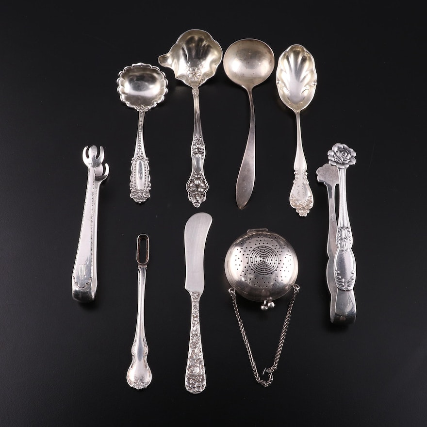 Sterling Silver Serving Utensils with Silver Plate Tea Ball Infuser