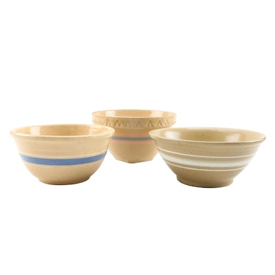 Glazed Stoneware Mixing Bowls, Mid to Late 20th Century