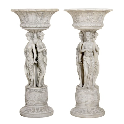 "Design Toscano ""Chatsworth Manor"" Neoclassical Pedestal Planters"