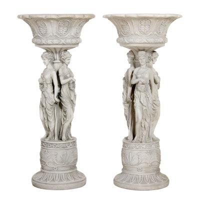 "Design Toscano ""Chatsworth Manor"" Neoclassical Pedestal Planters"