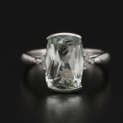 14K Gold Prasiolite and Diamond Ring