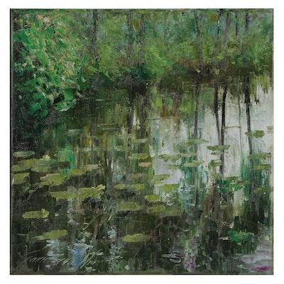 Garncarek Aleksander Landscape Oil Painting of Lily Pond