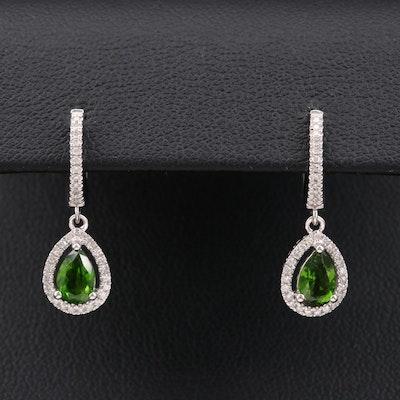 14K White Gold Tourmaline and Diamond Earrings