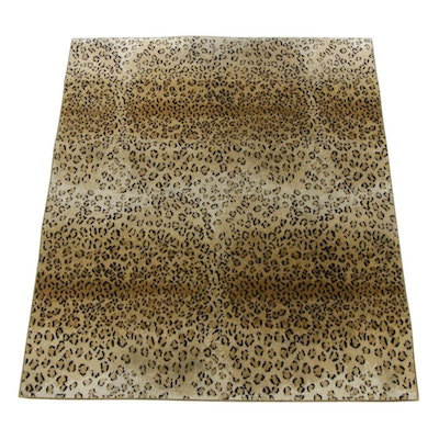 5'0 x 6'0 Power-Loomed Leopard Pattern Wool Rug