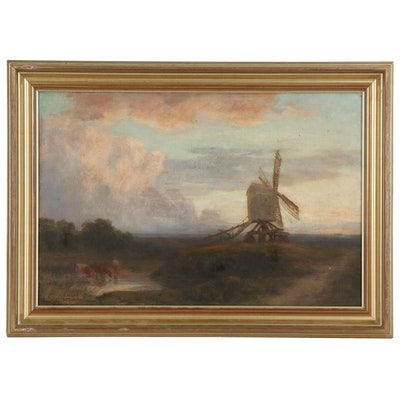 "Charles Edward Johnson Oil Painting ""The Windmill and the Cloud"", 1907"