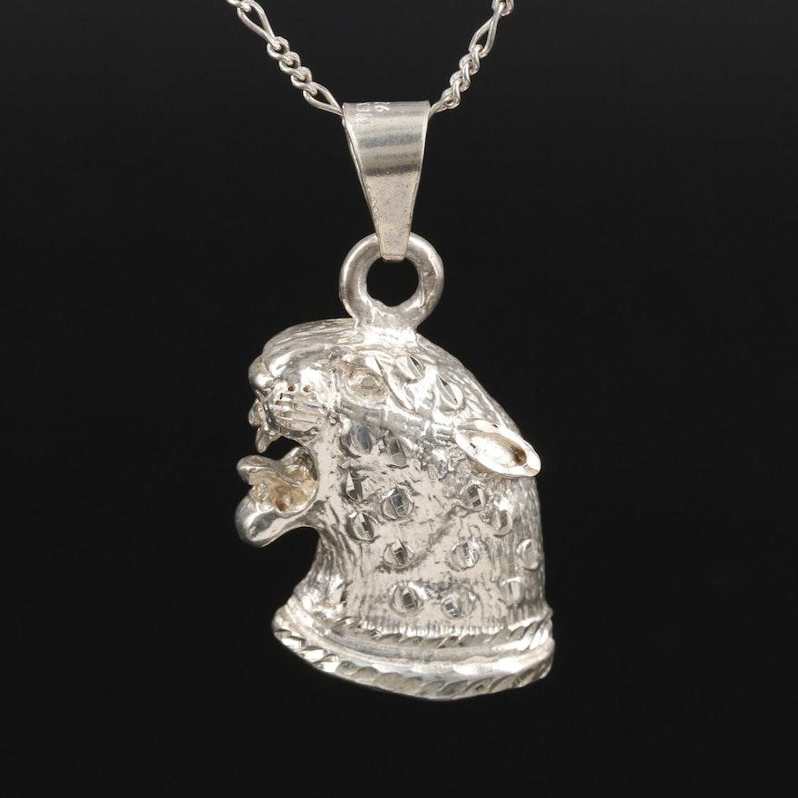 Sterling Silver Jaguar Pendant Necklace