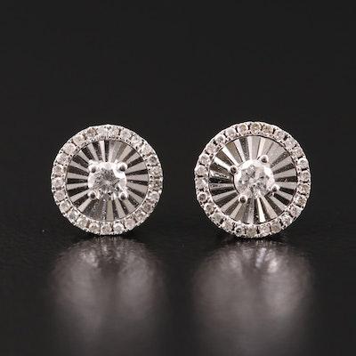 14K Gold Diamond Stud Earrings