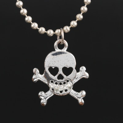 Rhinestone Skull and Crossbone Pendant on Sterling Silver Bead Chain Necklace