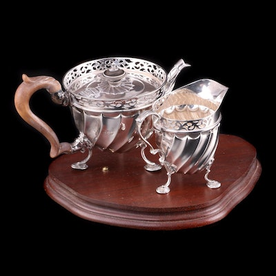 English Victorian Sterling Teapot and Creamer, 1892