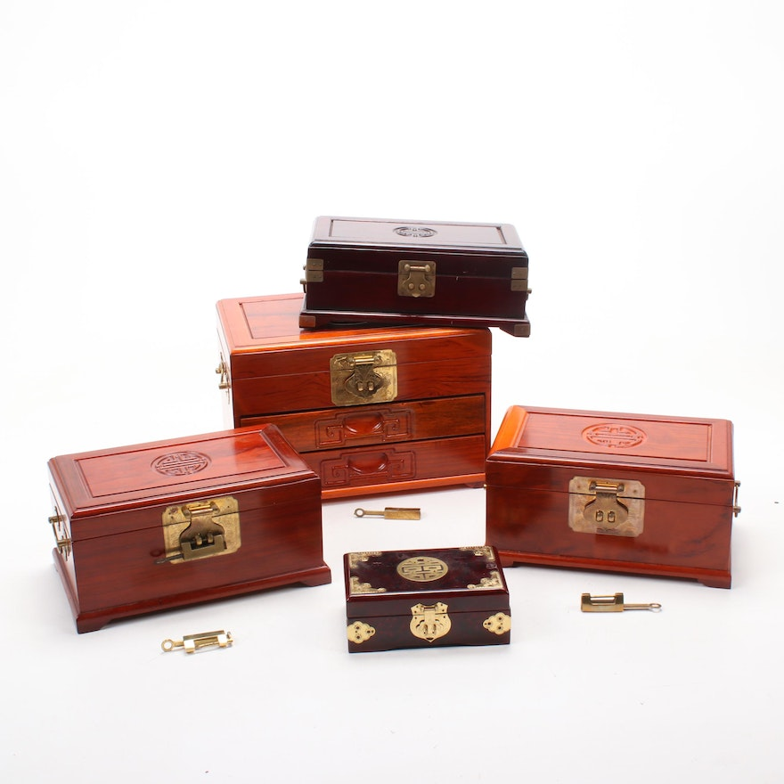 Chinese Wooden Jewelry Boxes with Brass Embellishments and Fastenings
