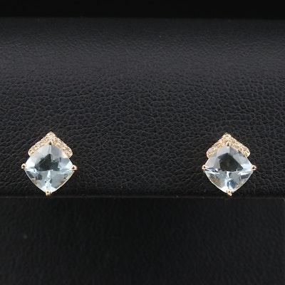 14K Gold Aquamarine and Diamond Stud Earrings