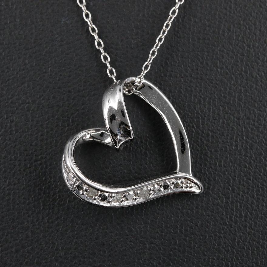 Sterling Silver Diamond Heart Pendant Necklace