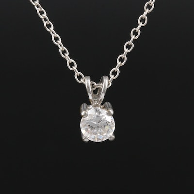 Cubic Zirconia Solitaire Pendant Necklace