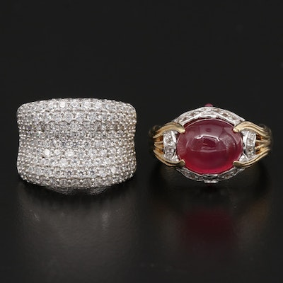 Sterling Cubic Zirconia Saddle Ring and Victoria Wieck Ruby and Topaz Ring