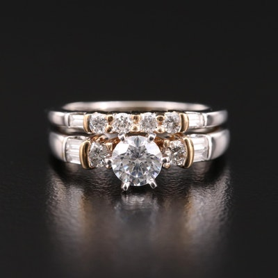 14K White Gold Diamond Semi-Mount Ring and Band with 14K Yellow Gold Accent