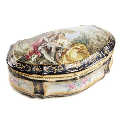 Sèvres Style Porcelain Jewelry Box with Courting Scene