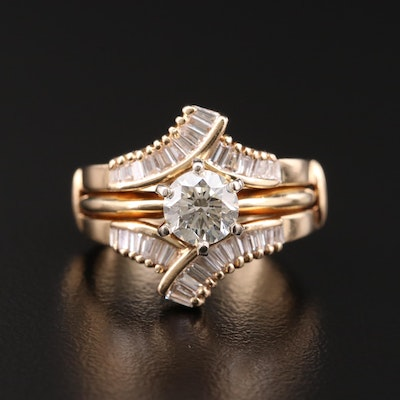 14K Yellow Gold 1.80 CTW Diamond Solitaire and Ring Jacket