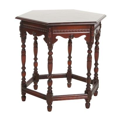 Jacobean Style Mahogany Hexagonal Side Table