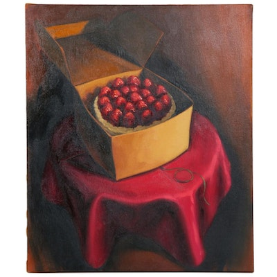 "Anita Dawson Oil Painting ""Strawberry Cake"""