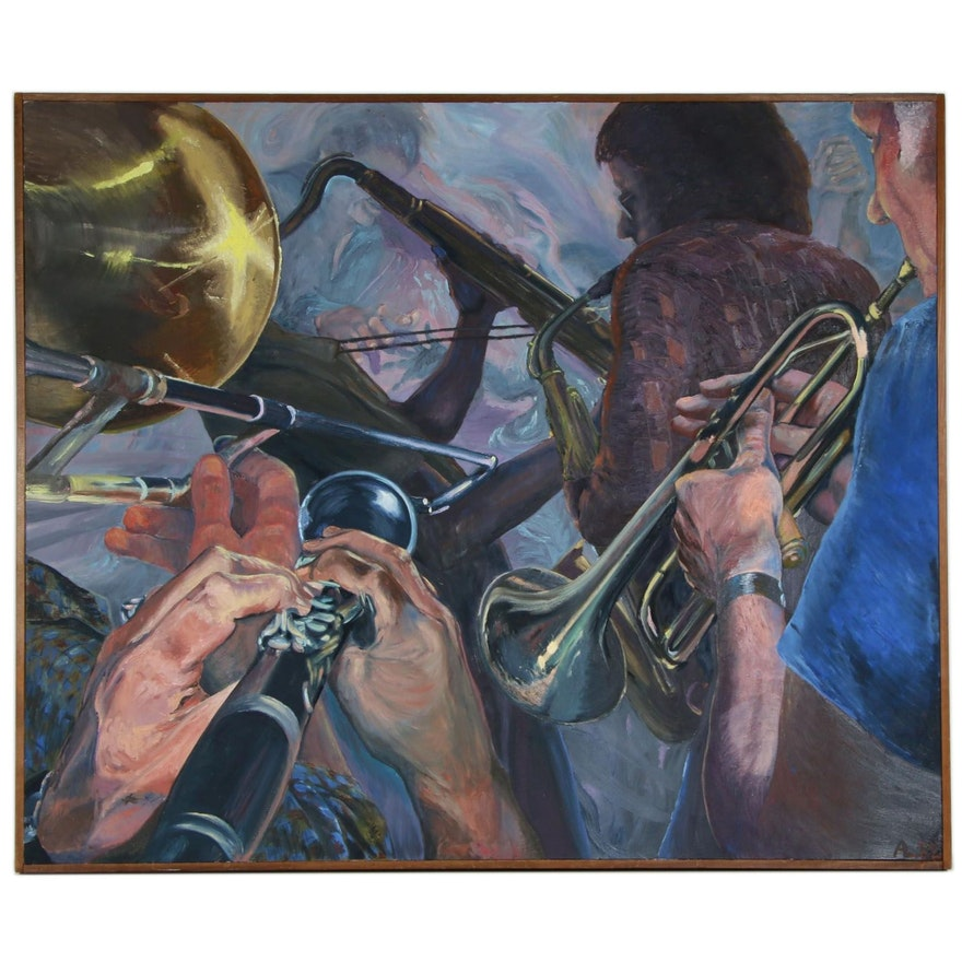 """Audrey Lancaster Monumental Oil Painting """"Four and One More"""", 1983"""