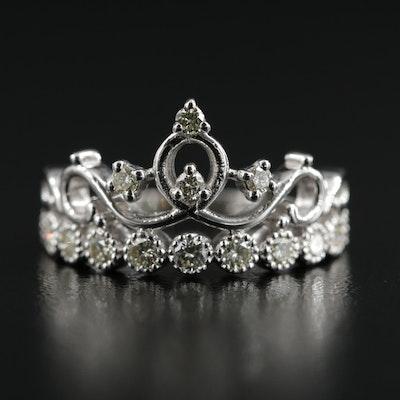 14K White Gold 0.69 CTW Diamond Ring Featuring Crown Motif