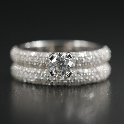 14K White Gold 1.35 CTW Diamond Ring Set