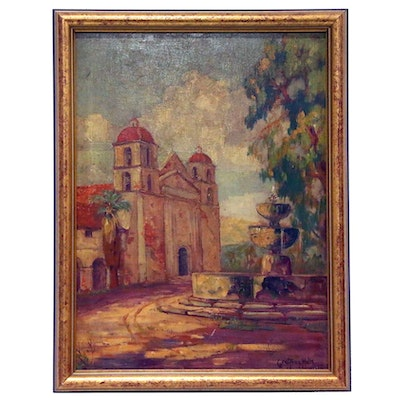 Geoffrey Holt Oil Painting of a Hacienda and Fountain, Mid-20th Century