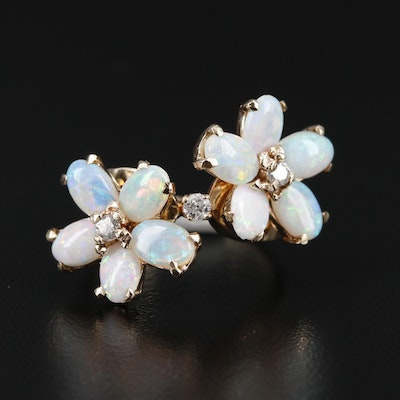 14K Diamond and Opal Floral Ring