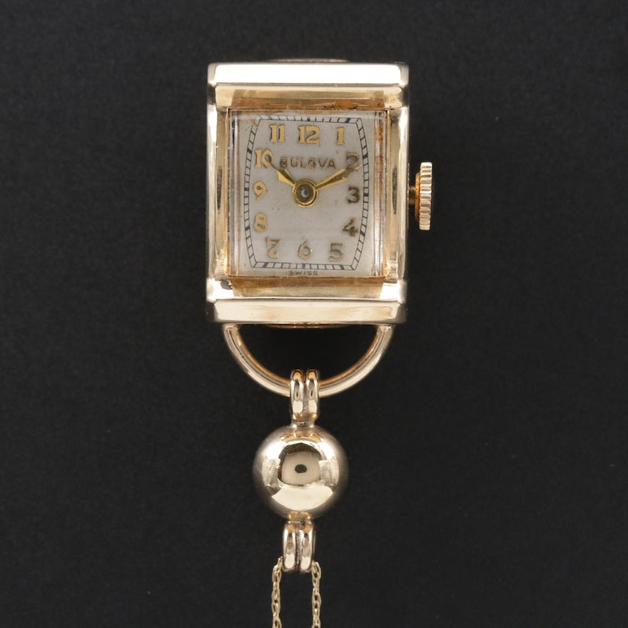 Bulova 14K Gold Pendant Watch and Chain, Vintage